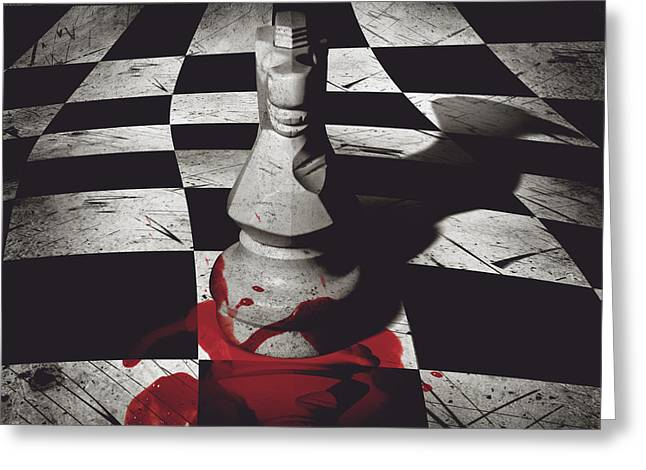 Dark Knight Of The Grand Chessboard Greeting Card