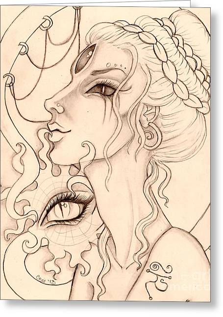 Dark Mother Sketch Greeting Card by Coriander  Shea