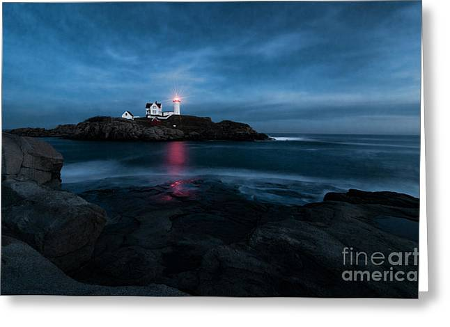 Dark Night At The Nubble Greeting Card