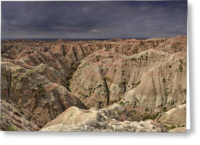 Dark Panorama Over The South Dakota Badlands Greeting Card by Sebastien Coursol