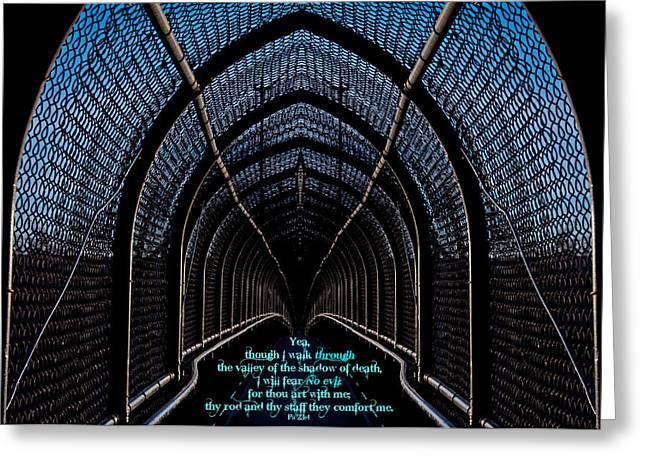 Dark Passage W Ps 23 4 Greeting Card
