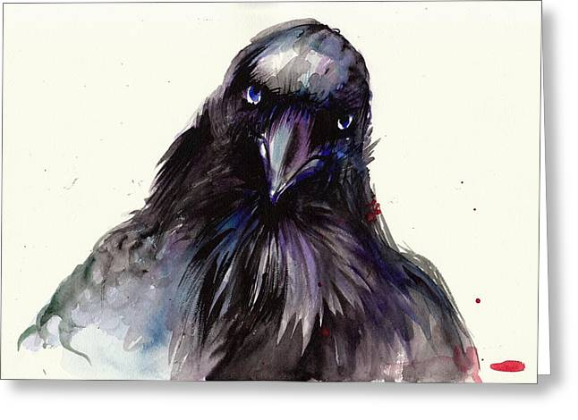 Dark Raven Head Detail - Crow Head Greeting Card by Tiberiu Soos