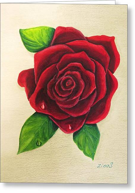 Dark Red Rose Greeting Card by Zina Stromberg