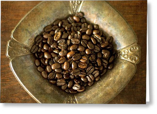 Dark Roast Coffee Beans And Antique Silver Greeting Card