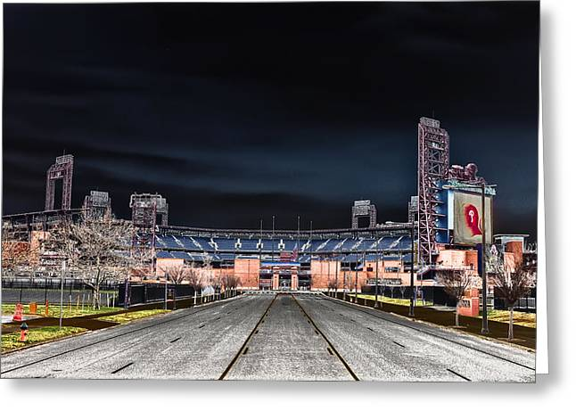 Dark Skies At Citizens Bank Park Greeting Card by Bill Cannon
