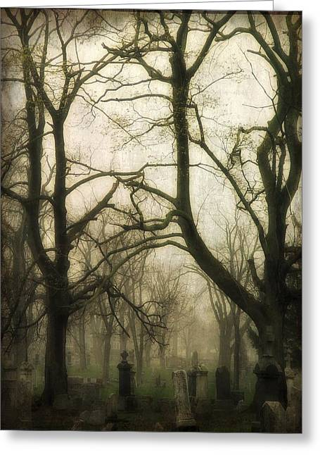 A Dark Fog Washes The Old Graveyard Greeting Card by Gothicrow Images