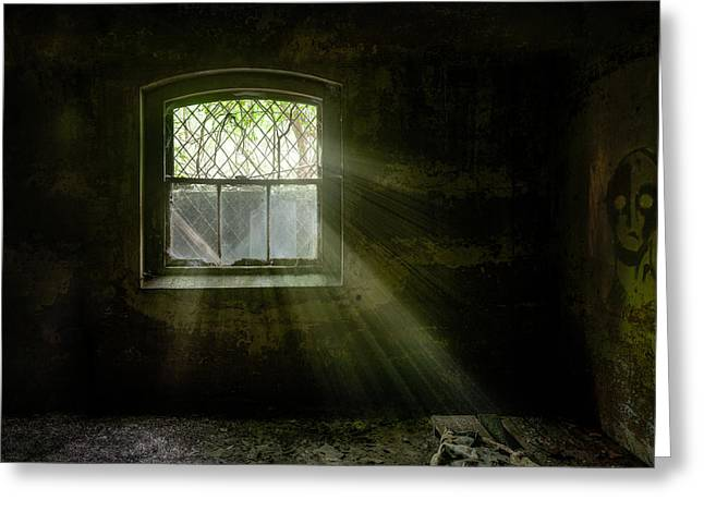 Greeting Card featuring the photograph Darkness Revealed - Basement Room Of An Abandoned Asylum by Gary Heller