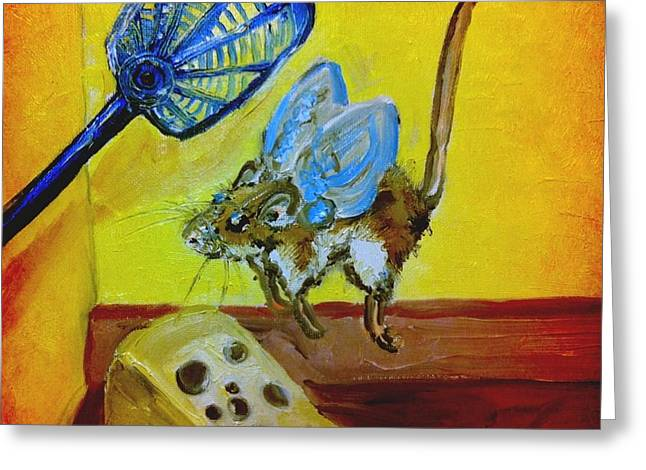 Darn Mouse Flies On Swiss Greeting Card