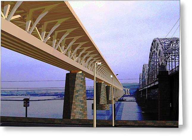 Darnitsky Bridge Greeting Card by Oleg Zavarzin