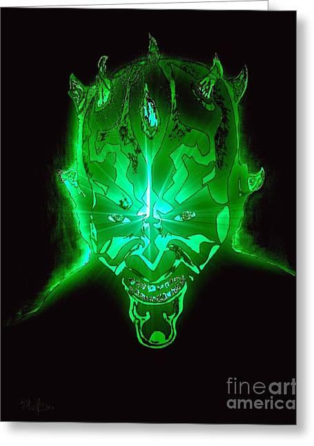 Darth Maul Green Glow Greeting Card by Saundra Myles