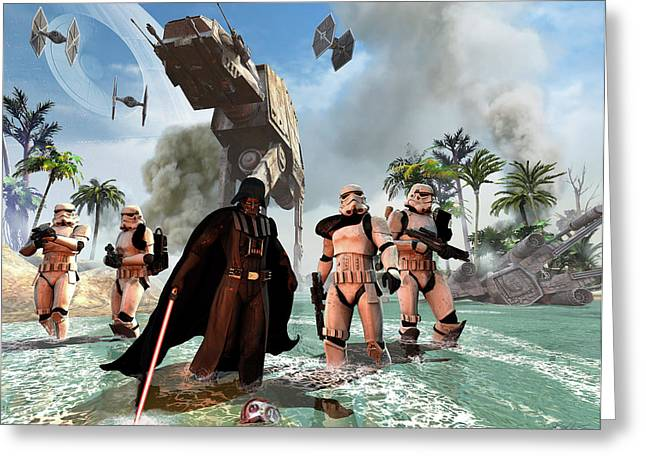 Darth Vader Searching The Beach Greeting Card