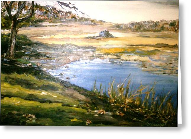 Greeting Card featuring the painting Dartmouth Landscape by Ray Khalife