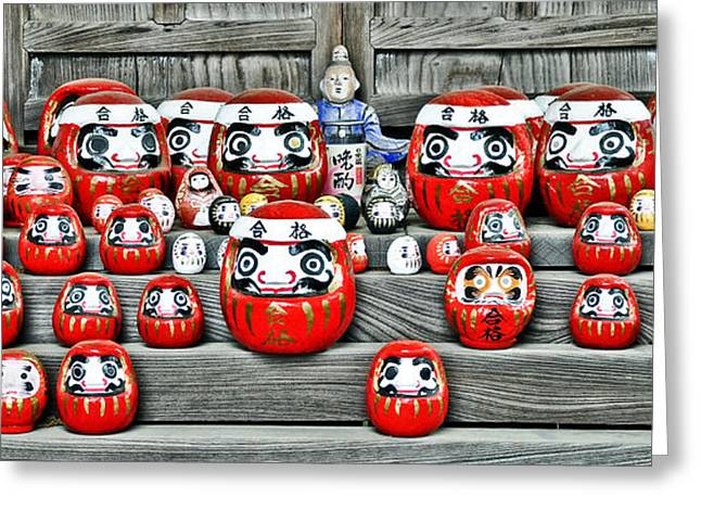 Daruma Dolls Greeting Card by Delphimages Photo Creations