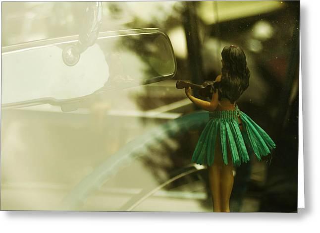 Dashboard Hula Dancer Greeting Card