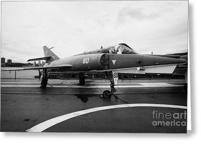 Dassault Etendard Iv M Ivm On Display On The Flight Deck At The Intrepid Sea Air Space Museum Usa Greeting Card