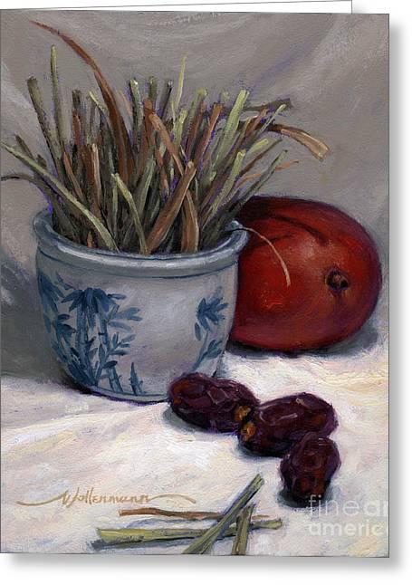 Dates Lemongrass And Mango Greeting Card