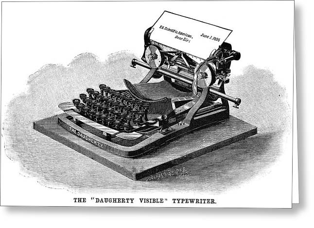 Daugherty Typewriter, 1895 Greeting Card by Granger
