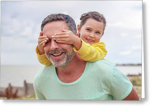 Daughter Covering Father's Eyes Greeting Card