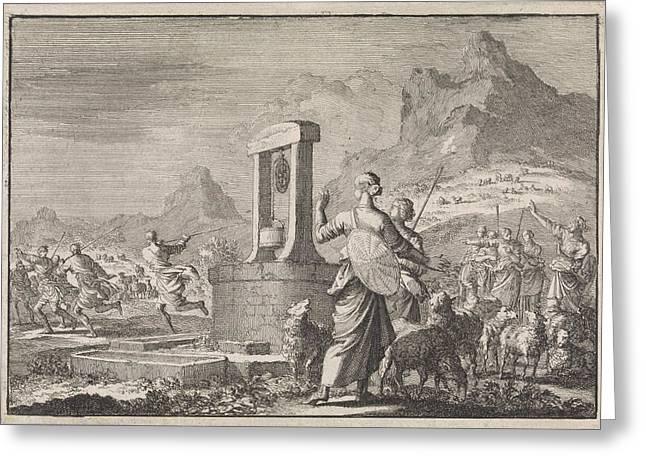 Daughters Of Reuel At The Well, Jan Luyken Greeting Card