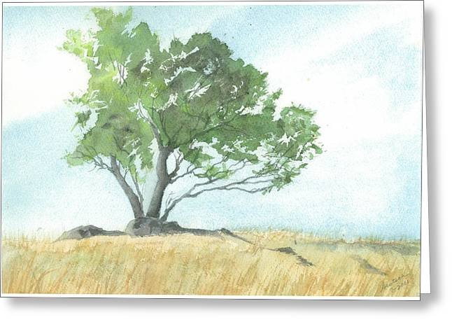 Greeting Card featuring the painting Daughton Park Haiku - Survivor by Joel Deutsch