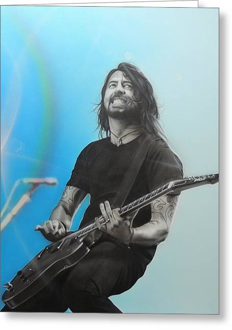 ' Dave Grohl ' Greeting Card by Christian Chapman Art