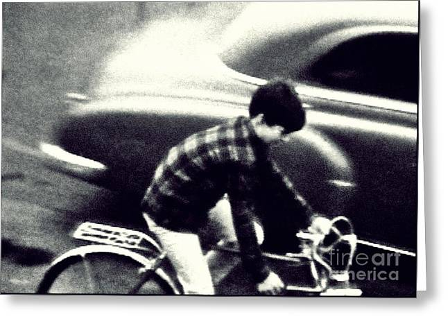 Dave On A Bike Greeting Card by Patricia Strand