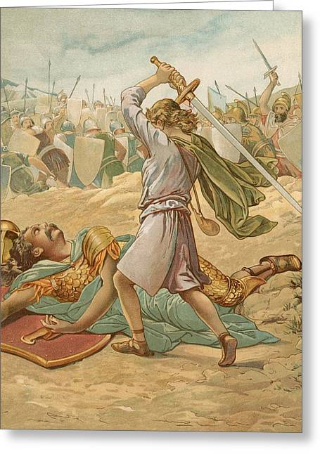 David About To Slay Goliath Greeting Card by John Lawson