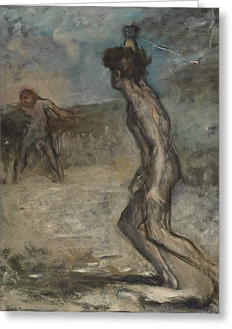David And Goliath, C.1857 Greeting Card by Edgar Degas