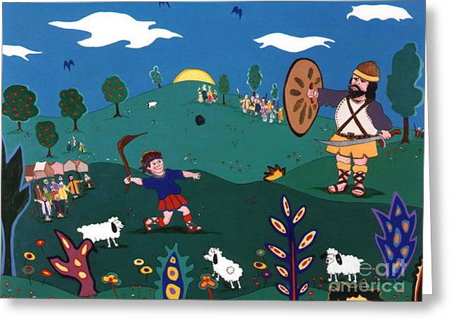 David And Goliath Greeting Card