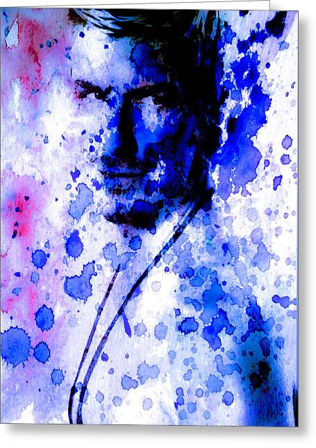 David Becham Watercolor Paint Splatter  Greeting Card by Brian Reaves