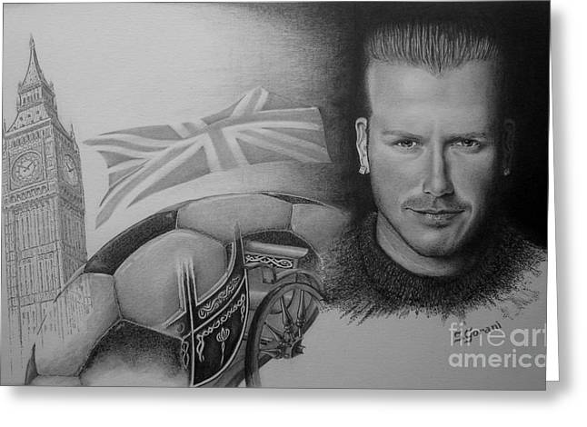 British Celebrities Drawings Greeting Cards - David Beckham Greeting Card by Geni Gorani
