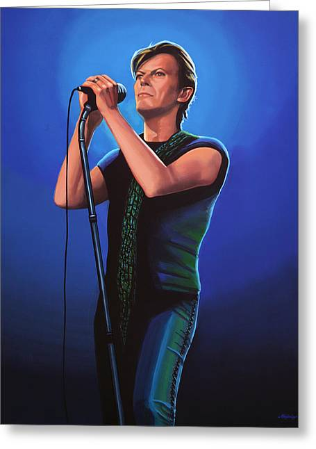 David Bowie 2 Painting Greeting Card by Paul Meijering