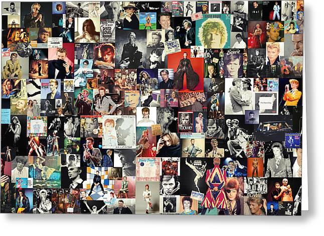 David Bowie Collage Greeting Card by Taylan Apukovska