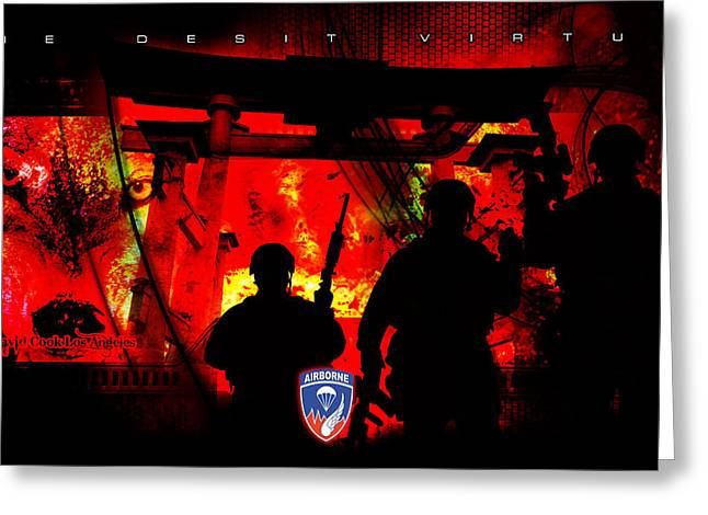 David Cook Los Angeles 187th Regiment Rakkasan Ne Desit Virtus Artwork Greeting Card