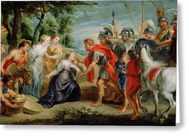 David Meeting Abigail Workshop Of Peter Paul Rubens Greeting Card by Litz Collection