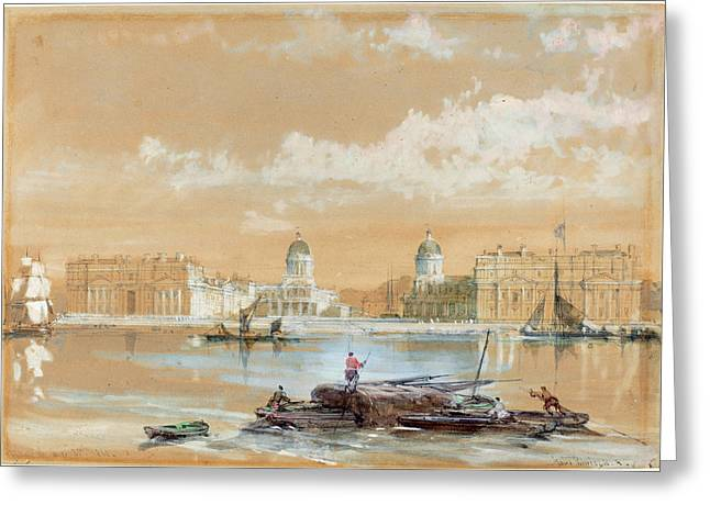 David Roberts Scottish, 1796 - 1864, The Naval College Greeting Card by Quint Lox