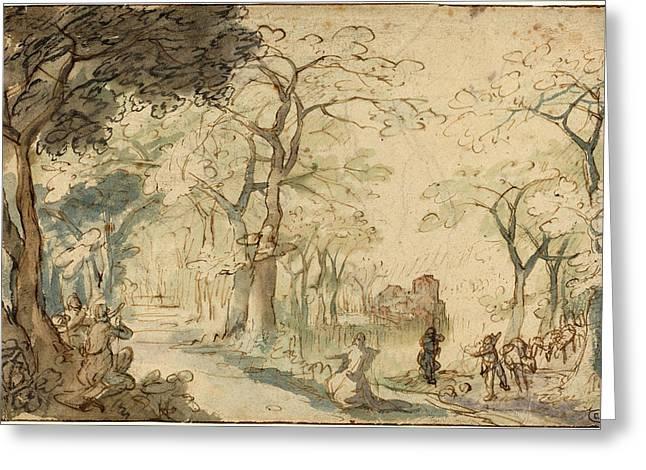 David Vinckboons, Dutch 1576-c. 1632, Landscape With Elisha Greeting Card