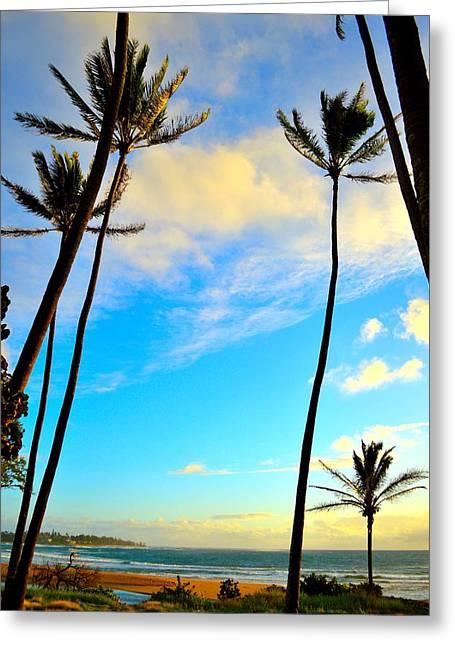 Dawn And Palms Kauia - Hawaii Greeting Card