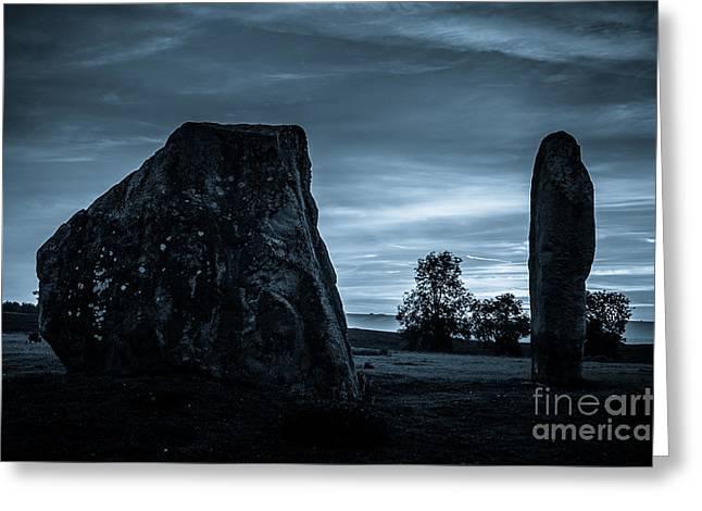 Dawn At Avebury Stone Circle Greeting Card by Peter Noyce