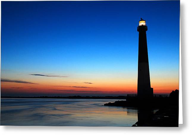 Greeting Card featuring the photograph Dawn At Barnegat Light by James Kirkikis