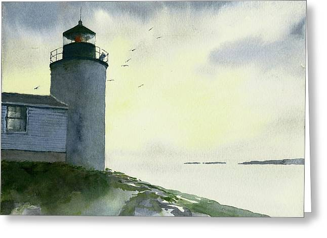 Dawn At Bass Harbor Lighthouse Greeting Card