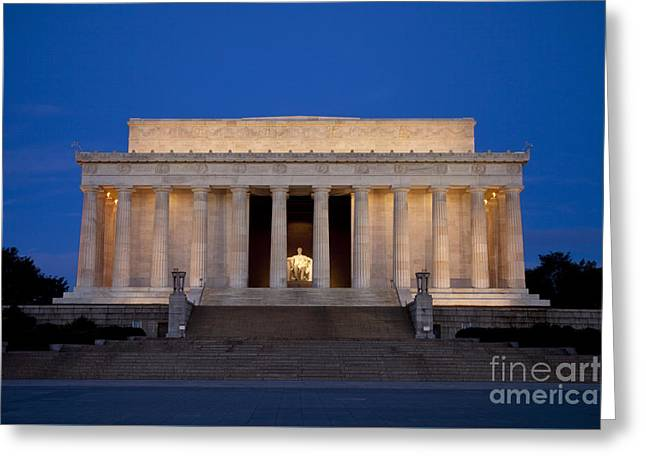Greeting Card featuring the photograph Dawn At Lincoln Memorial by Brian Jannsen