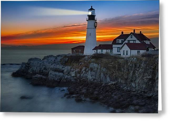 Dawn At Portalnd Head Light Greeting Card