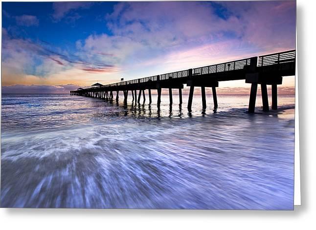 Dawn At The Juno Beach Pier Greeting Card by Debra and Dave Vanderlaan