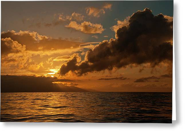 Dawn Breaking Over The Coastline Greeting Card