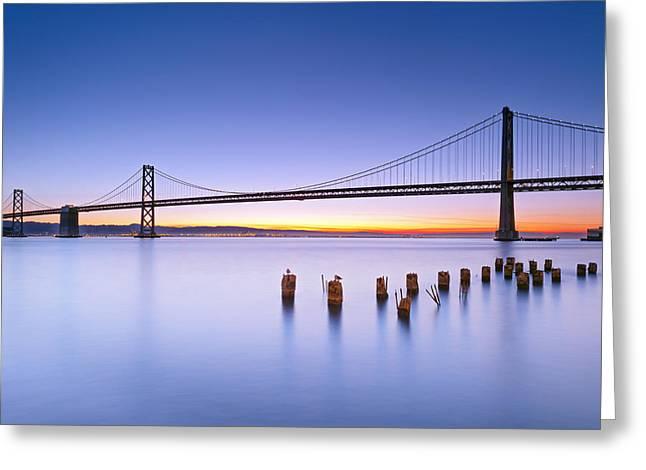 Dawn Colors - Bay Bridge Greeting Card