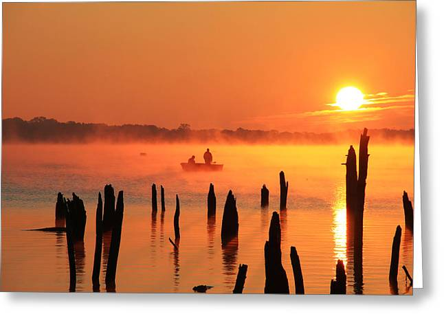 Dawn Fishing Greeting Card by Roger Becker