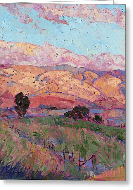 Greeting Card featuring the painting Dawn Hills - Left Panel by Erin Hanson