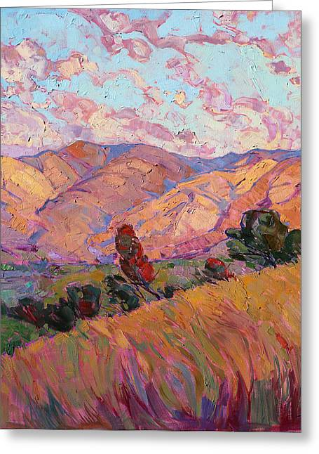Greeting Card featuring the painting Dawn Hills - Right Panel by Erin Hanson