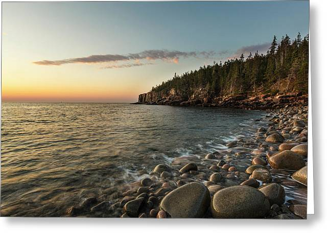 Dawn In Monument Cove In Maine's Acadia Greeting Card